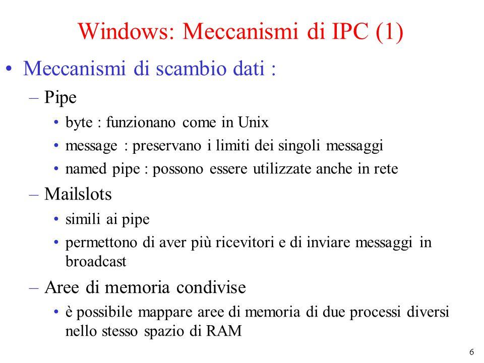 6 Windows: Meccanismi di IPC (1) Meccanismi di scambio dati : –Pipe byte : funzionano come in Unix message : preservano i limiti dei singoli messaggi named pipe : possono essere utilizzate anche in rete –Mailslots simili ai pipe permettono di aver più ricevitori e di inviare messaggi in broadcast –Aree di memoria condivise è possibile mappare aree di memoria di due processi diversi nello stesso spazio di RAM