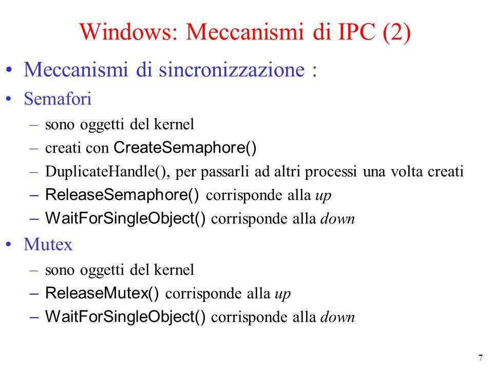 7 Windows: Meccanismi di IPC (2) Meccanismi di sincronizzazione : Semafori –sono oggetti del kernel –creati con CreateSemaphore() –DuplicateHandle(), per passarli ad altri processi una volta creati –ReleaseSemaphore() corrisponde alla up –WaitForSingleObject() corrisponde alla down Mutex –sono oggetti del kernel –ReleaseMutex() corrisponde alla up –WaitForSingleObject() corrisponde alla down