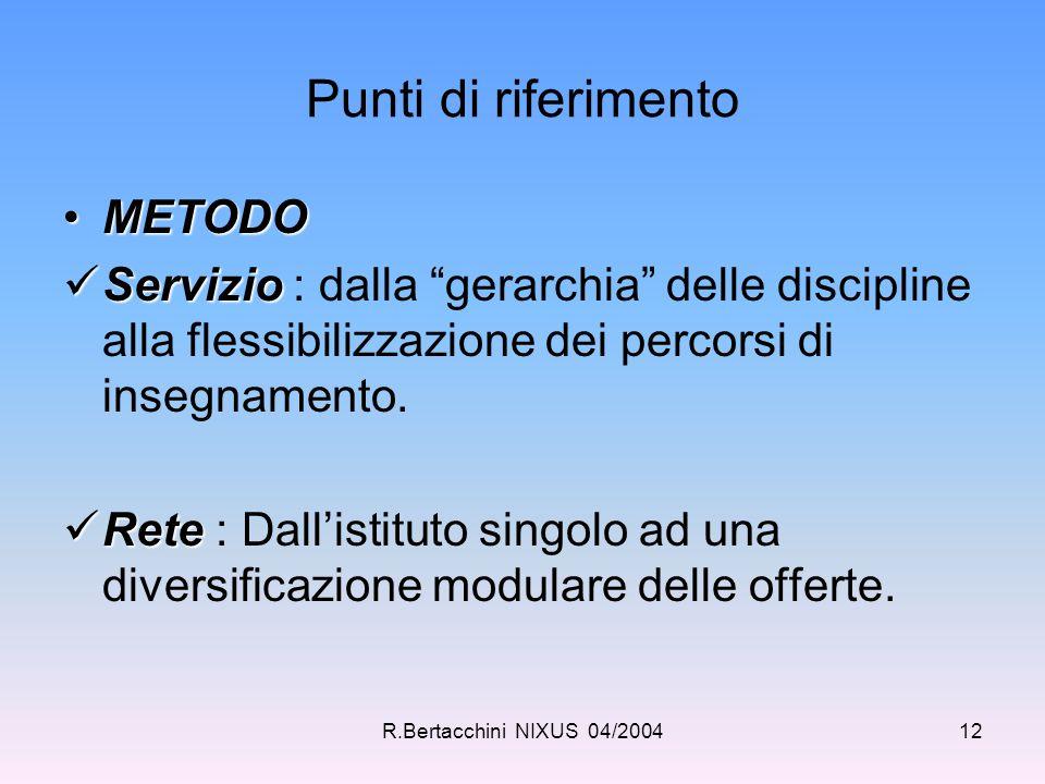 """R.Bertacchini NIXUS 04/200412 Punti di riferimento METODOMETODO Servizio Servizio : dalla """"gerarchia"""" delle discipline alla flessibilizzazione dei per"""