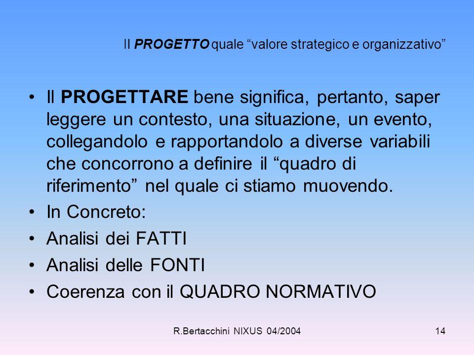 """R.Bertacchini NIXUS 04/200414 Il PROGETTO quale """"valore strategico e organizzativo"""" Il PROGETTARE bene significa, pertanto, saper leggere un contesto,"""