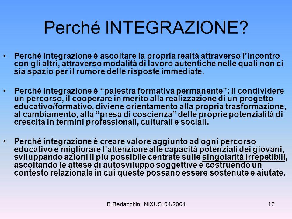 R.Bertacchini NIXUS 04/200417 Perché INTEGRAZIONE? Perché integrazione è ascoltare la propria realtà attraverso l'incontro con gli altri, attraverso m