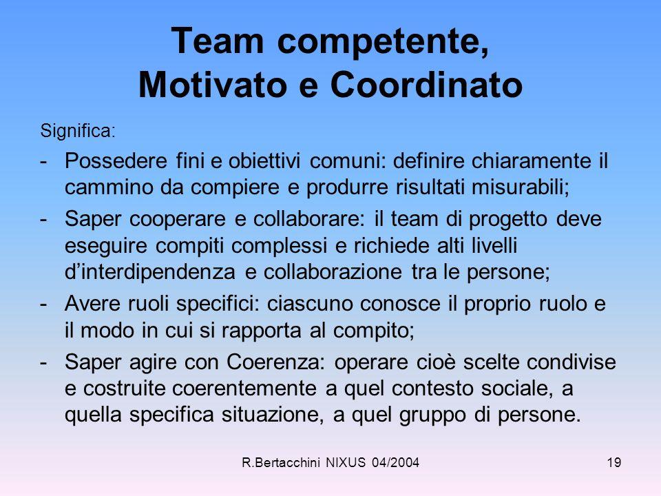 R.Bertacchini NIXUS 04/200419 Team competente, Motivato e Coordinato Significa: -Possedere fini e obiettivi comuni: definire chiaramente il cammino da