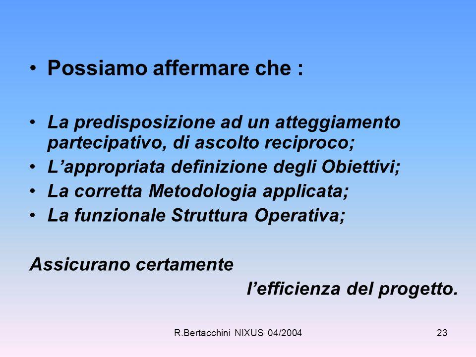 R.Bertacchini NIXUS 04/200423 Possiamo affermare che : La predisposizione ad un atteggiamento partecipativo, di ascolto reciproco; L'appropriata defin