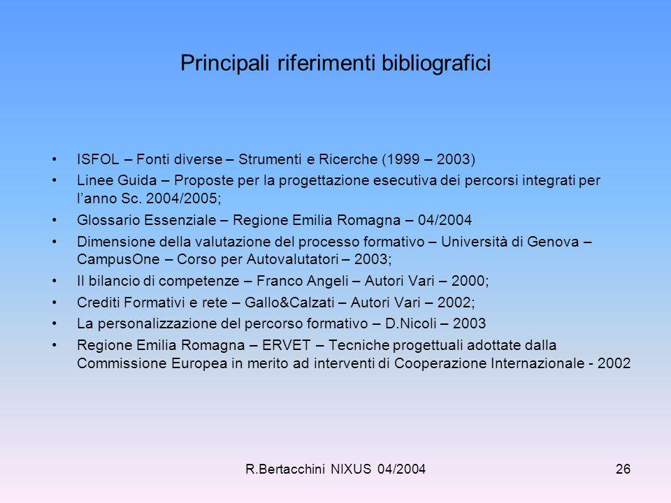 R.Bertacchini NIXUS 04/200426 Principali riferimenti bibliografici ISFOL – Fonti diverse – Strumenti e Ricerche (1999 – 2003) Linee Guida – Proposte p