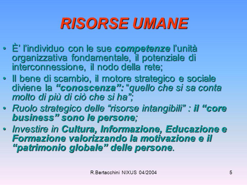 R.Bertacchini NIXUS 04/20045 RISORSE UMANE È' l'individuo con le sue competenze l'unità organizzativa fondamentale, il potenziale di interconnessione,