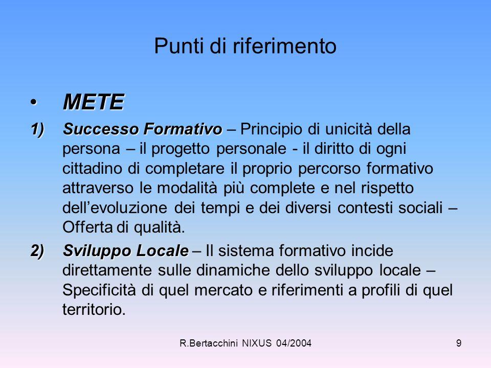 R.Bertacchini NIXUS 04/20049 Punti di riferimento METEMETE 1)Successo Formativo 1)Successo Formativo – Principio di unicità della persona – il progett