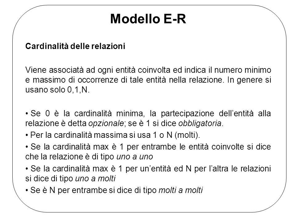 Modello E-R Cardinalità delle relazioni Viene associatà ad ogni entità coinvolta ed indica il numero minimo e massimo di occorrenze di tale entità nella relazione.
