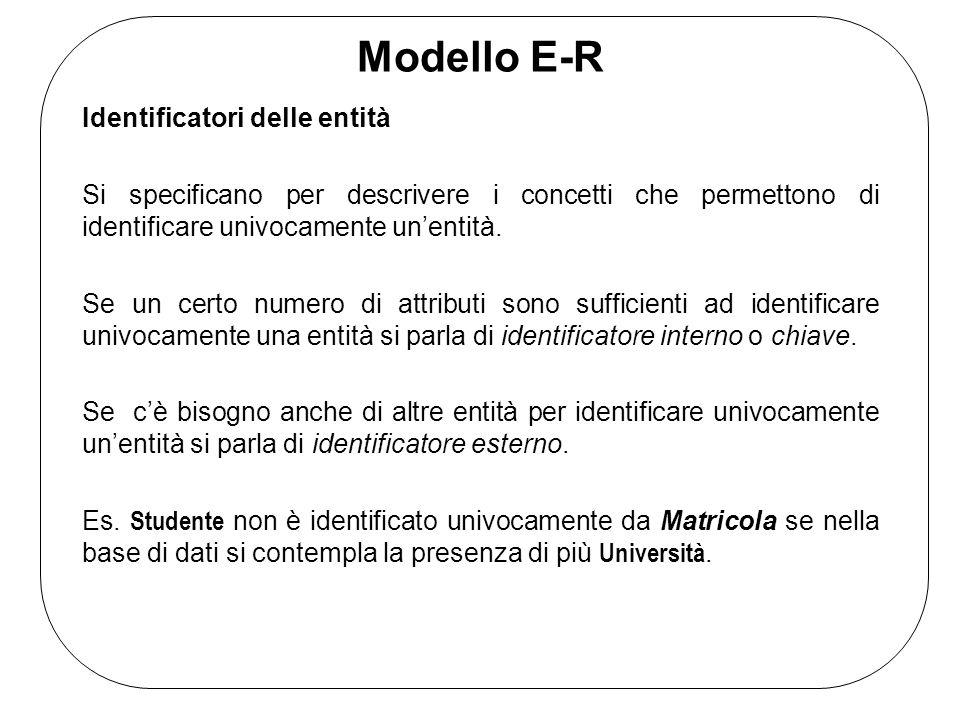 Modello E-R Identificatori delle entità Si specificano per descrivere i concetti che permettono di identificare univocamente un'entità.