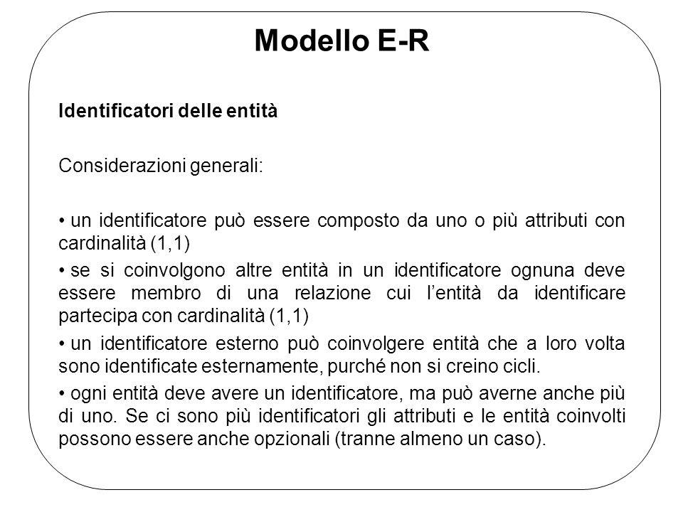 Modello E-R Identificatori delle entità Considerazioni generali: un identificatore può essere composto da uno o più attributi con cardinalità (1,1) se si coinvolgono altre entità in un identificatore ognuna deve essere membro di una relazione cui l'entità da identificare partecipa con cardinalità (1,1) un identificatore esterno può coinvolgere entità che a loro volta sono identificate esternamente, purché non si creino cicli.