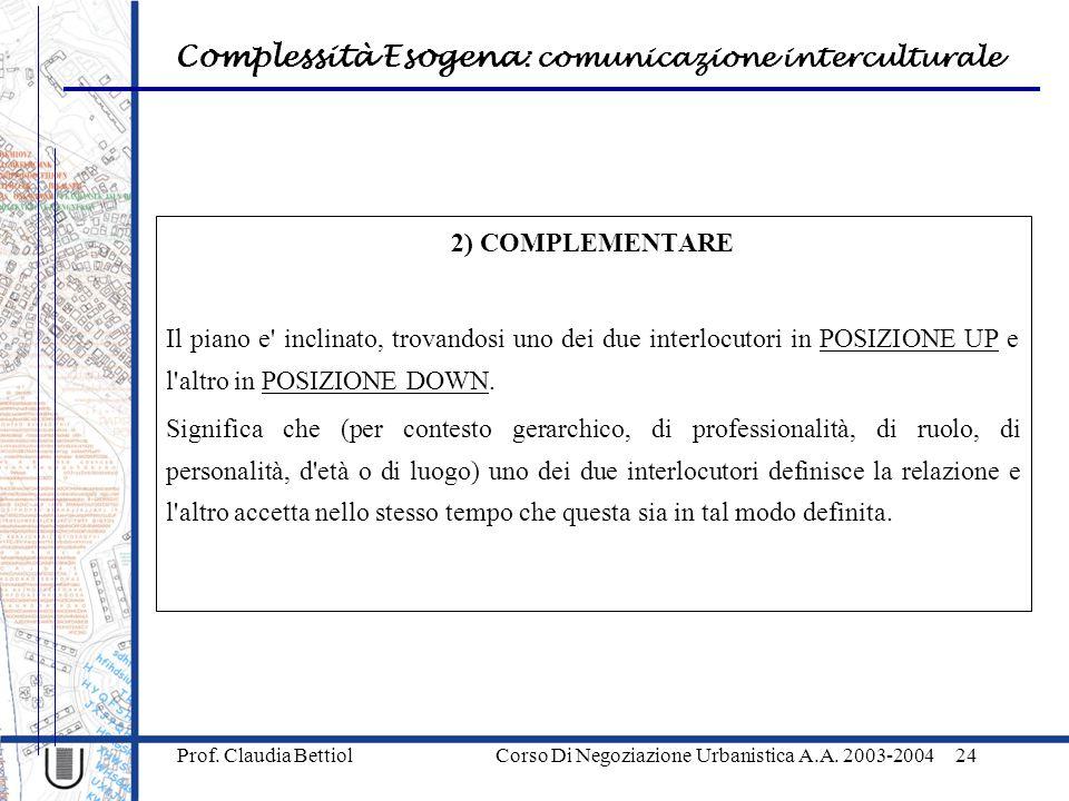 Complessità Esogena : comunicazione interculturale Prof.