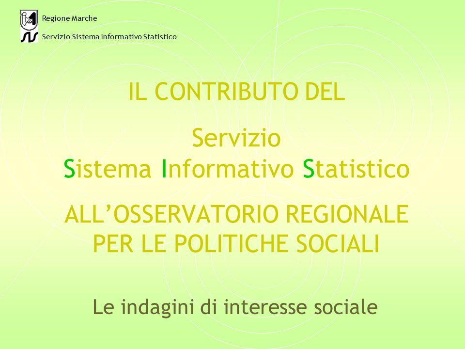 IL CONTRIBUTO DEL Servizio Sistema Informativo Statistico ALL'OSSERVATORIO REGIONALE PER LE POLITICHE SOCIALI Le indagini di interesse sociale Regione Marche Servizio Sistema Informativo Statistico