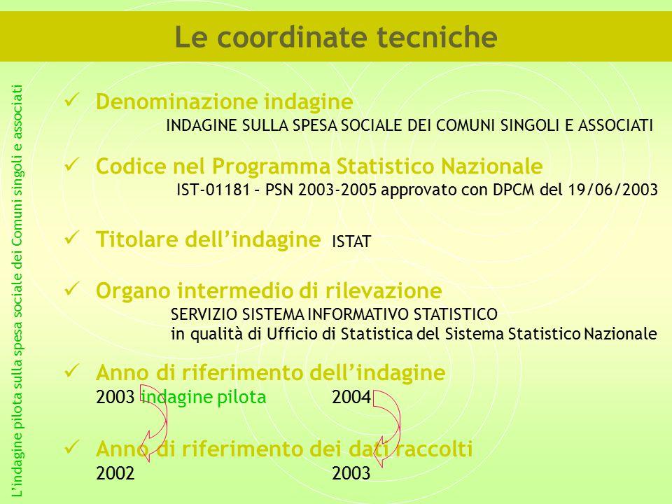 Denominazione indagine INDAGINE SULLA SPESA SOCIALE DEI COMUNI SINGOLI E ASSOCIATI L'indagine pilota sulla spesa sociale dei Comuni singoli e associati Le coordinate tecniche Codice nel Programma Statistico Nazionale IST-01181 – PSN 2003-2005 approvato con DPCM del 19/06/2003 Titolare dell'indagine ISTAT Organo intermedio di rilevazione SERVIZIO SISTEMA INFORMATIVO STATISTICO in qualità di Ufficio di Statistica del Sistema Statistico Nazionale Anno di riferimento dell'indagine 2003 indagine pilota2004 Anno di riferimento dei dati raccolti 20022003