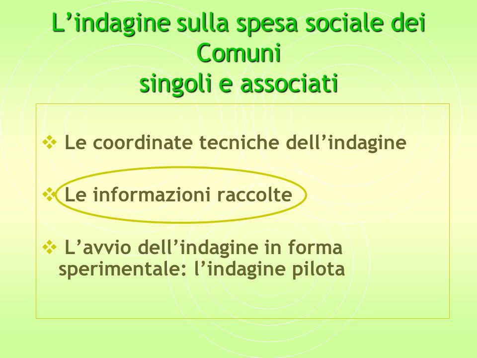 L'indagine sulla spesa sociale dei Comuni singoli e associati  Le coordinate tecniche dell'indagine  Le informazioni raccolte  L'avvio dell'indagine in forma sperimentale: l'indagine pilota
