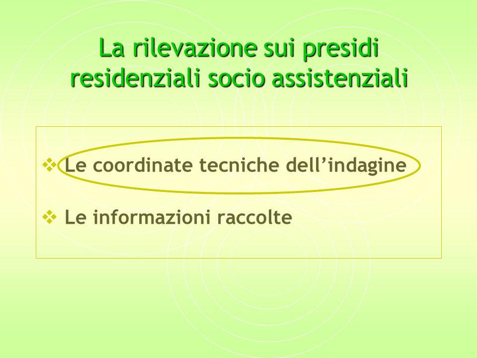 La rilevazione sui presidi residenziali socio assistenziali  Le coordinate tecniche dell'indagine  Le informazioni raccolte