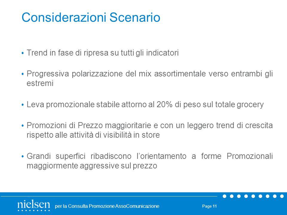 per la Consulta Promozione AssoComunicazione Page 11 Considerazioni Scenario Trend in fase di ripresa su tutti gli indicatori Progressiva polarizzazio