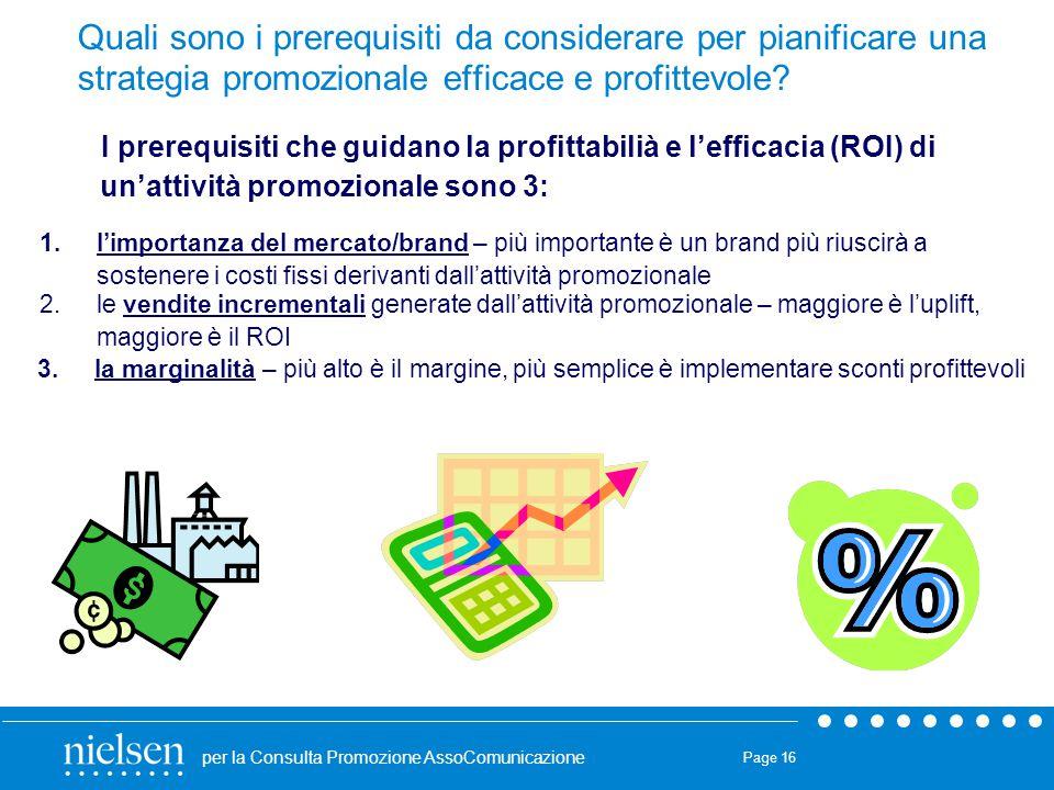 per la Consulta Promozione AssoComunicazione Page 16 1.l'importanza del mercato/brand – più importante è un brand più riuscirà a sostenere i costi fis
