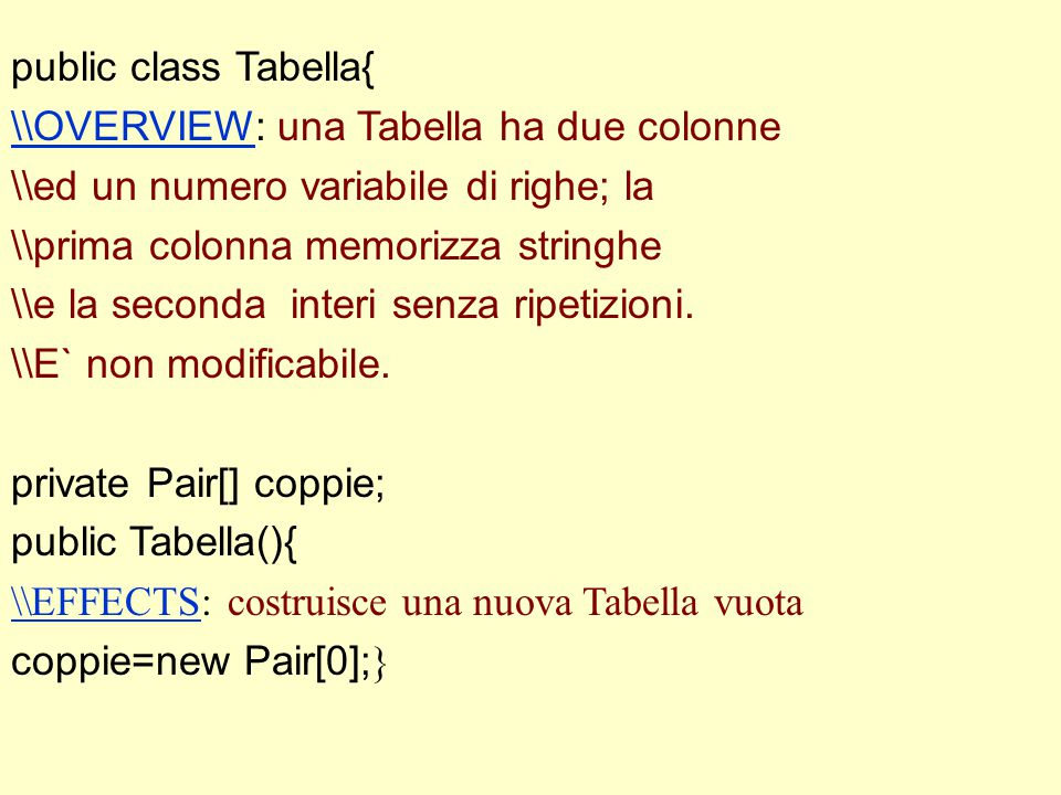 public class Tabella{ \\OVERVIEW\\OVERVIEW: una Tabella ha due colonne \\ed un numero variabile di righe; la \\prima colonna memorizza stringhe \\e la