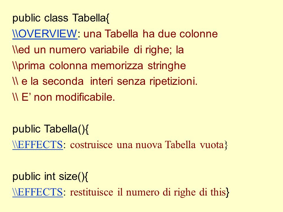 public class Tabella{ \\OVERVIEW\\OVERVIEW: una Tabella ha due colonne \\ed un numero variabile di righe; la \\prima colonna memorizza stringhe \\ e l