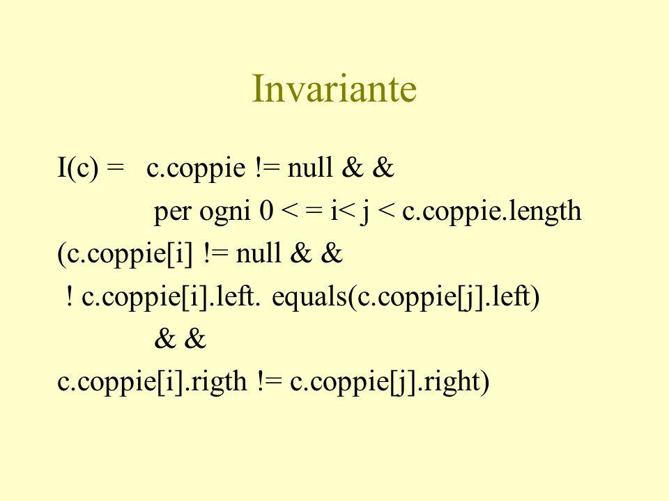 Invariante I(c) = c.coppie != null & & per ogni 0 < = i< j < c.coppie.length (c.coppie[i] != null & & ! c.coppie[i].left. equals(c.coppie[j].left) & &