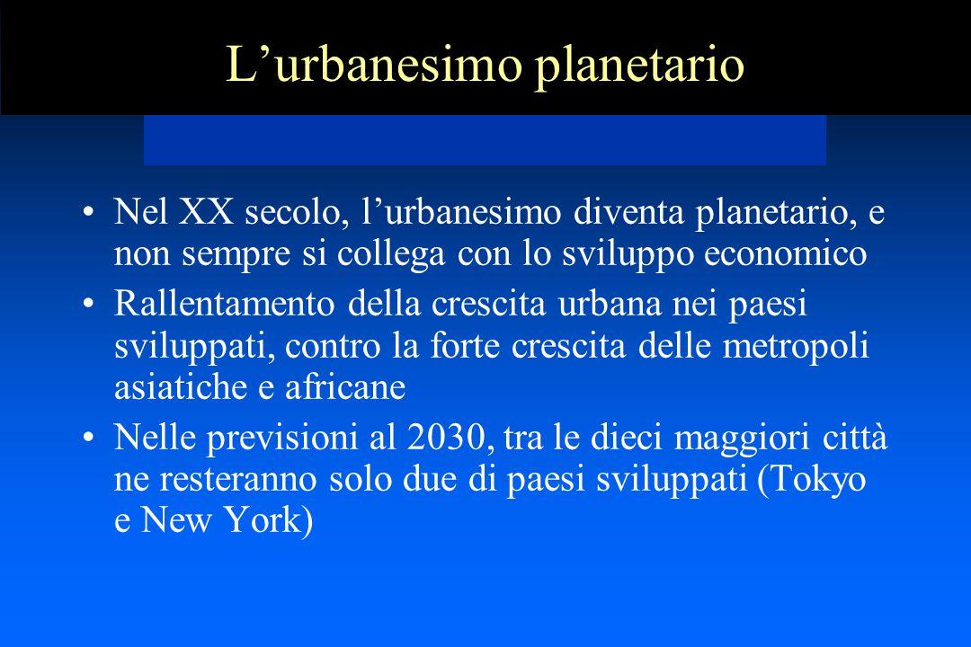 L'urbanesimo planetario Nel XX secolo, l'urbanesimo diventa planetario, e non sempre si collega con lo sviluppo economico Rallentamento della crescita