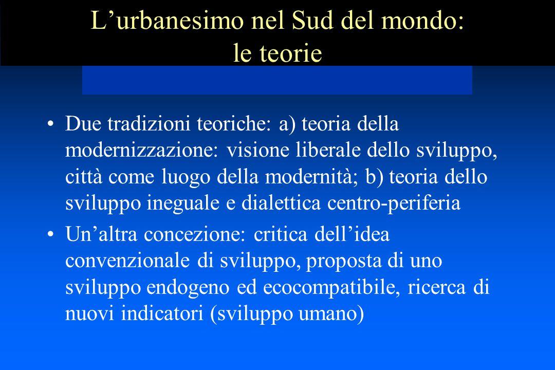 L'urbanesimo nel Sud del mondo: le teorie Due tradizioni teoriche: a) teoria della modernizzazione: visione liberale dello sviluppo, città come luogo