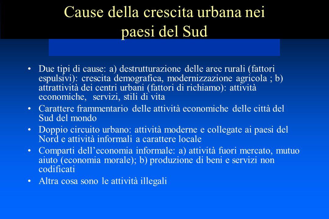 Cause della crescita urbana nei paesi del Sud Due tipi di cause: a) destrutturazione delle aree rurali (fattori espulsivi): crescita demografica, mode