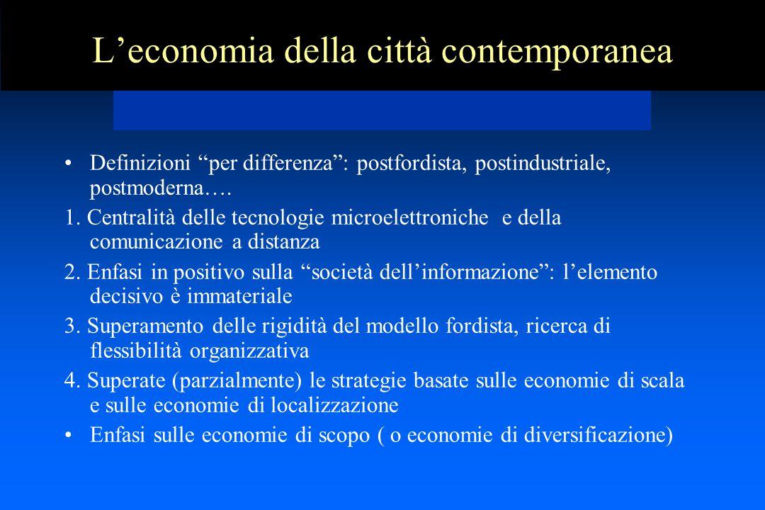 L'economia della città contemporanea Definizioni per differenza : postfordista, postindustriale, postmoderna….