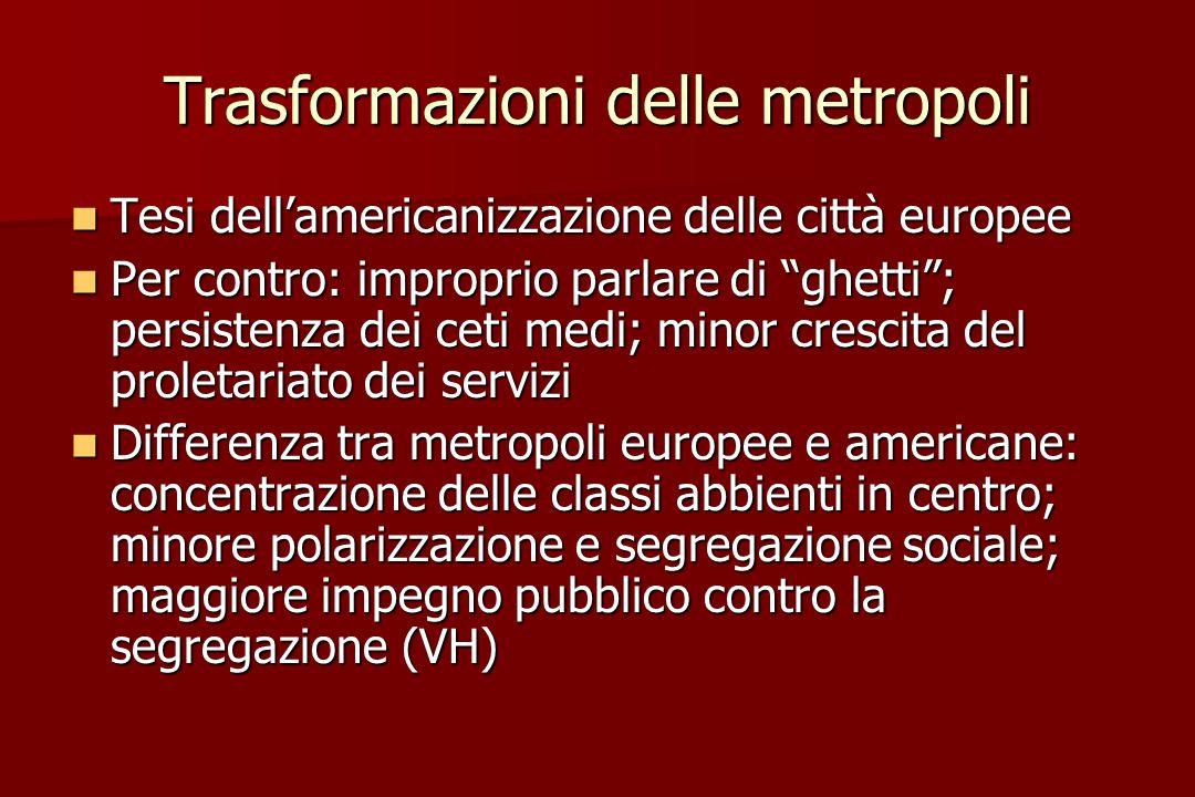 Trasformazioni delle metropoli Tesi dell'americanizzazione delle città europee Tesi dell'americanizzazione delle città europee Per contro: improprio p