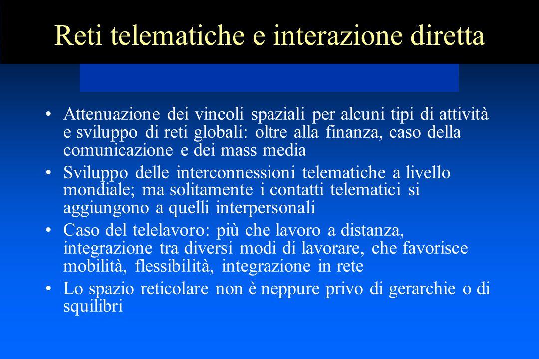 Reti telematiche e interazione diretta Attenuazione dei vincoli spaziali per alcuni tipi di attività e sviluppo di reti globali: oltre alla finanza, c