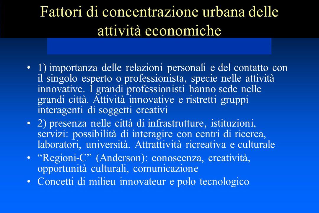 Fattori di concentrazione urbana delle attività economiche 1) importanza delle relazioni personali e del contatto con il singolo esperto o professionista, specie nelle attività innovative.