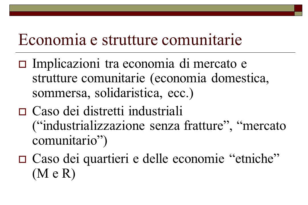 Economia e strutture comunitarie  Implicazioni tra economia di mercato e strutture comunitarie (economia domestica, sommersa, solidaristica, ecc.) 