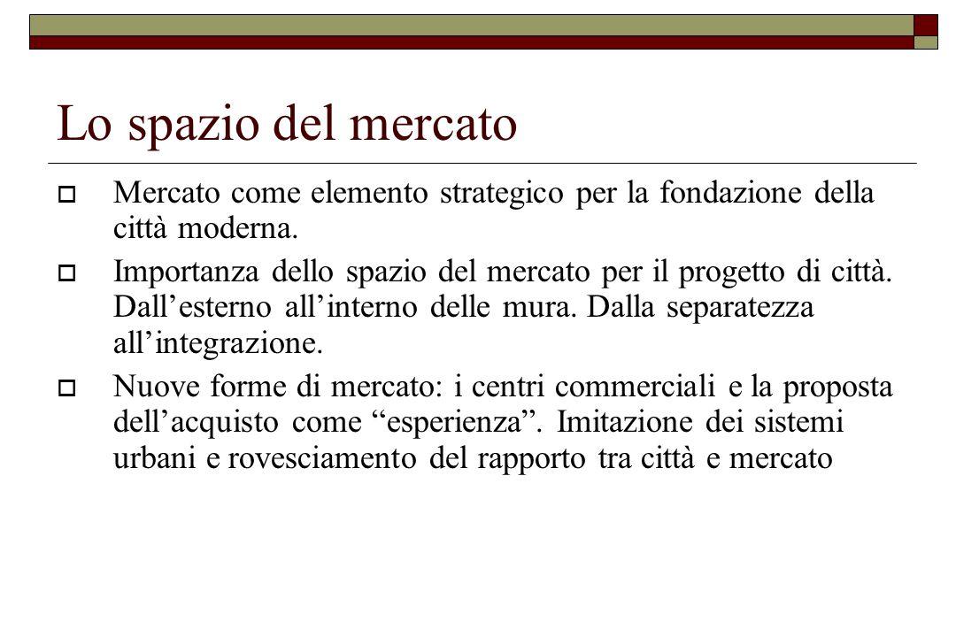Lo spazio del mercato  Mercato come elemento strategico per la fondazione della città moderna.  Importanza dello spazio del mercato per il progetto