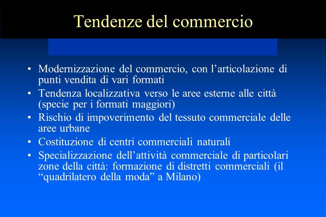 Tendenze del commercio Modernizzazione del commercio, con l'articolazione di punti vendita di vari formati Tendenza localizzativa verso le aree estern