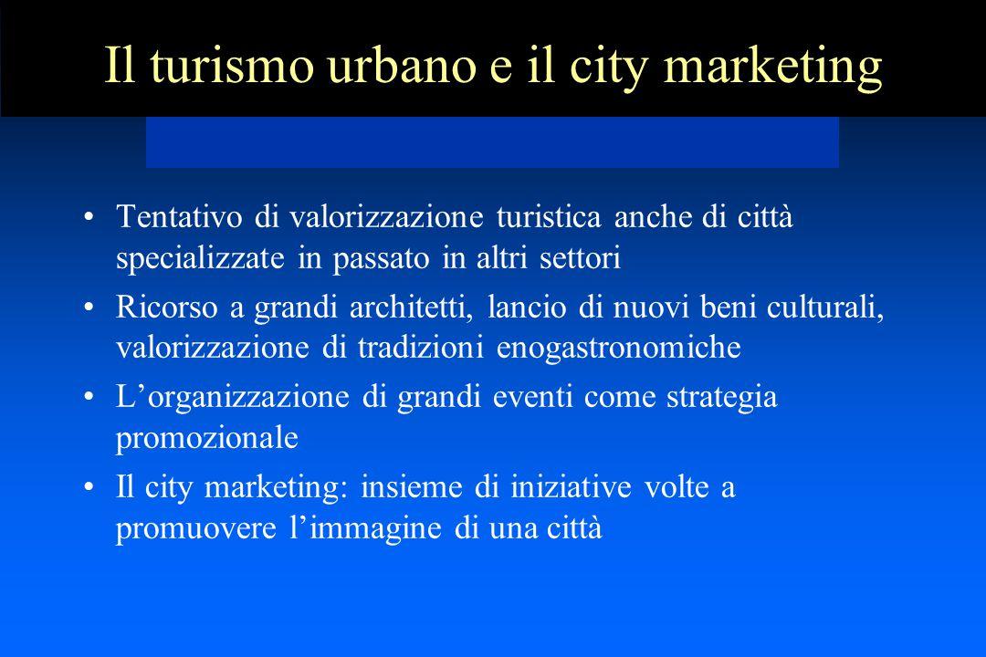 Il turismo urbano e il city marketing Tentativo di valorizzazione turistica anche di città specializzate in passato in altri settori Ricorso a grandi