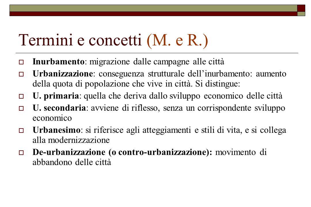 Termini e concetti (M. e R.)  Inurbamento: migrazione dalle campagne alle città  Urbanizzazione: conseguenza strutturale dell'inurbamento: aumento d