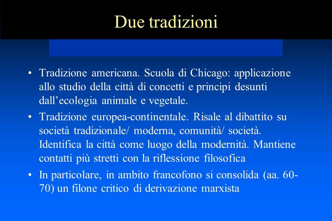 Due tradizioni Tradizione americana. Scuola di Chicago: applicazione allo studio della città di concetti e principi desunti dall'ecologia animale e ve