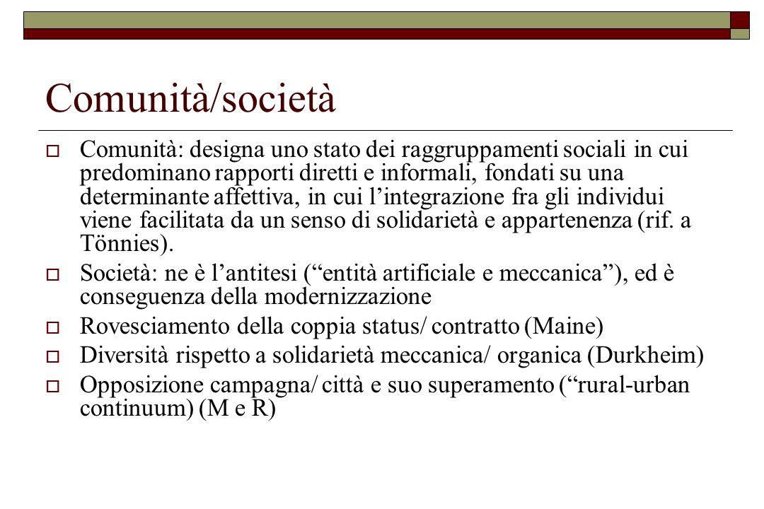Comunità/società  Comunità: designa uno stato dei raggruppamenti sociali in cui predominano rapporti diretti e informali, fondati su una determinante