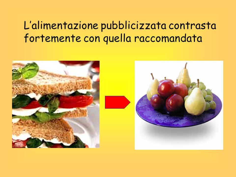 Le categorie di prodotti più pubblicizzati sono: Le bevande gassate Cereali zuccherati Dolciumi e gelati merendine Fast food