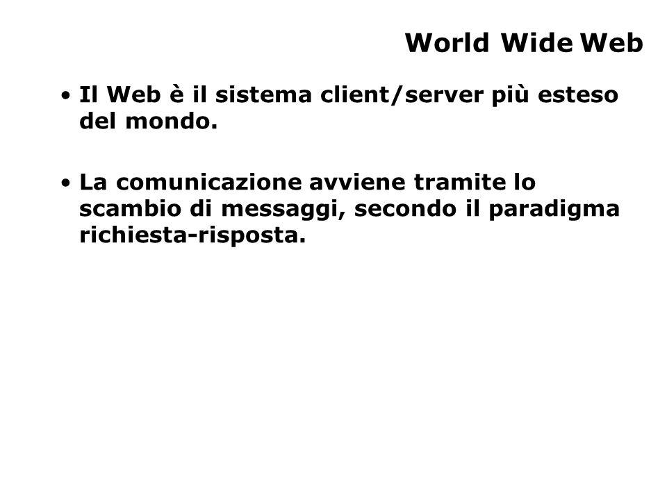 World Wide Web Il Web è il sistema client/server più esteso del mondo.