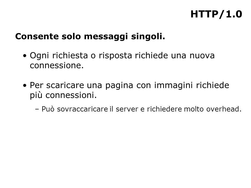 HTTP/1.0 Consente solo messaggi singoli. Ogni richiesta o risposta richiede una nuova connessione.