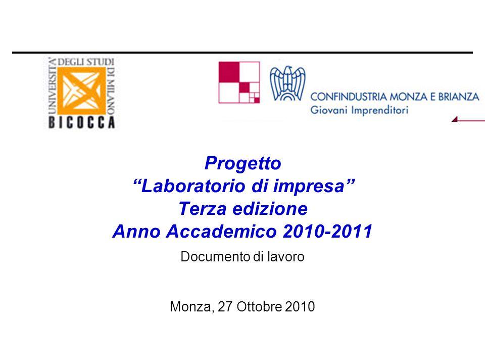 THE ITALIAN ECONOMIC SYSTEM Progetto Laboratorio di impresa Terza edizione Anno Accademico 2010-2011 Documento di lavoro Monza, 27 Ottobre 2010