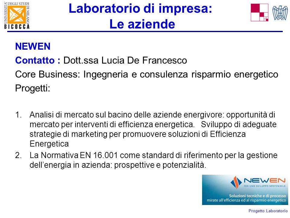 Progetto Laboratorio Laboratorio di impresa: Le aziende NEWEN Contatto : Dott.ssa Lucia De Francesco Core Business: Ingegneria e consulenza risparmio energetico Progetti: 1.Analisi di mercato sul bacino delle aziende energivore: opportunità di mercato per interventi di efficienza energetica.