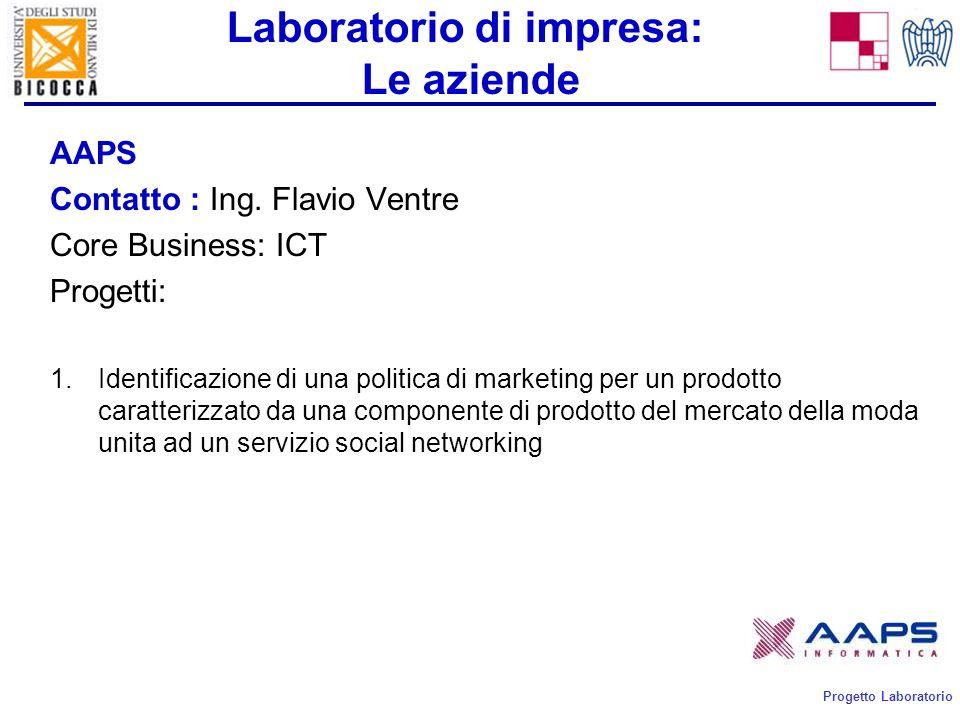 Progetto Laboratorio Laboratorio di impresa: Le aziende AAPS Contatto : Ing.