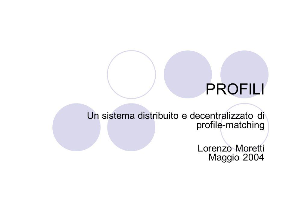 PROFILI Un sistema distribuito e decentralizzato di profile-matching Lorenzo Moretti Maggio 2004