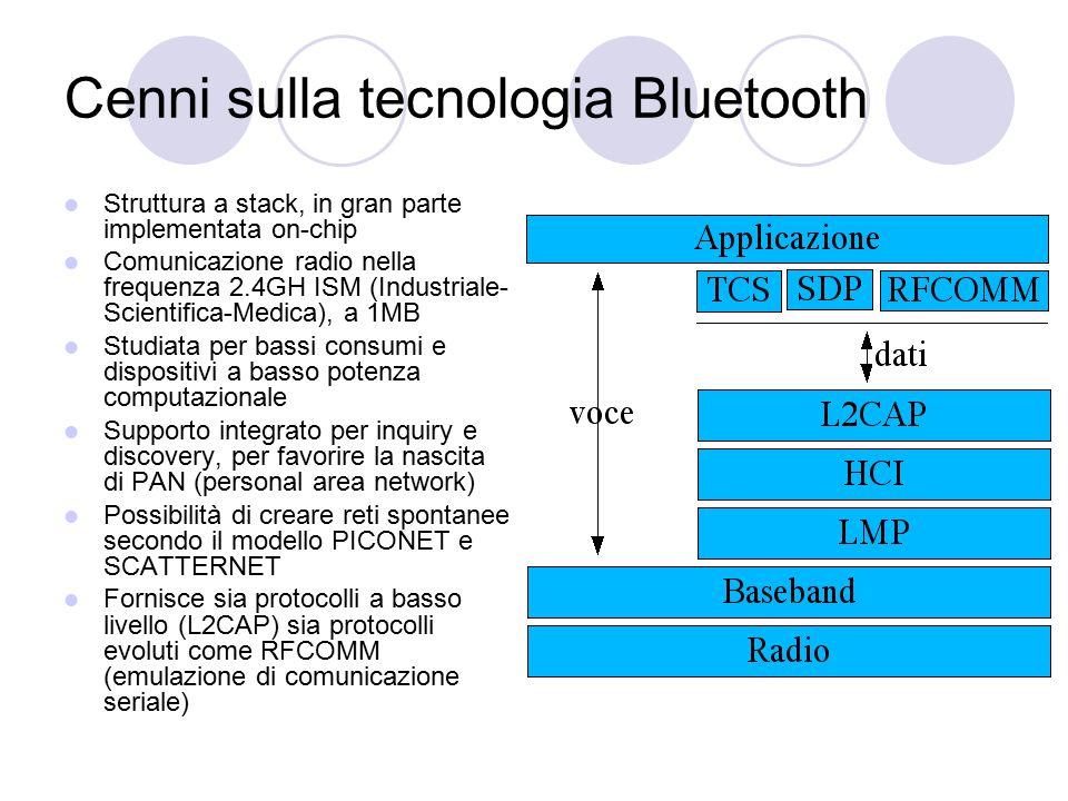 Cenni sulla tecnologia Bluetooth Struttura a stack, in gran parte implementata on-chip Comunicazione radio nella frequenza 2.4GH ISM (Industriale- Sci