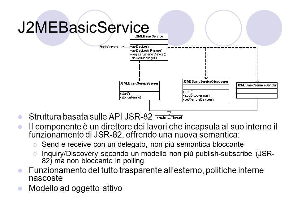 J2MEBasicService Struttura basata sulle API JSR-82 Il componente è un direttore dei lavori che incapsula al suo interno il funzionamento di JSR-82, of