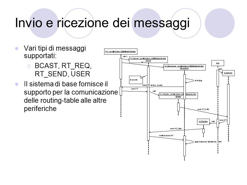 Invio e ricezione dei messaggi Vari tipi di messaggi supportati:  BCAST, RT_REQ, RT_SEND, USER Il sistema di base fornisce il supporto per la comunic