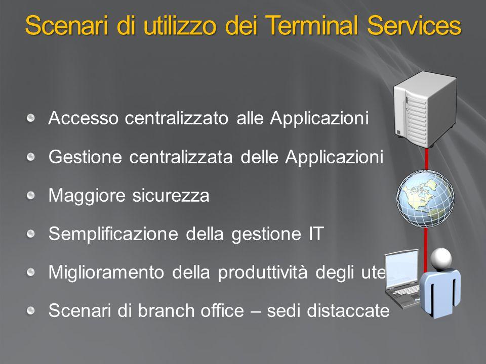 Scenari di utilizzo dei Terminal Services Accesso centralizzato alle Applicazioni Gestione centralizzata delle Applicazioni Maggiore sicurezza Semplificazione della gestione IT Miglioramento della produttività degli utenti Scenari di branch office – sedi distaccate