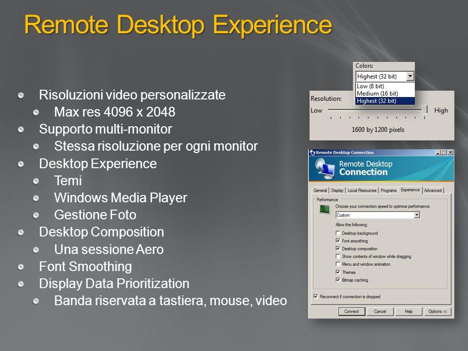 Remote Desktop Experience Risoluzioni video personalizzate Max res 4096 x 2048 Supporto multi-monitor Stessa risoluzione per ogni monitor Desktop Expe