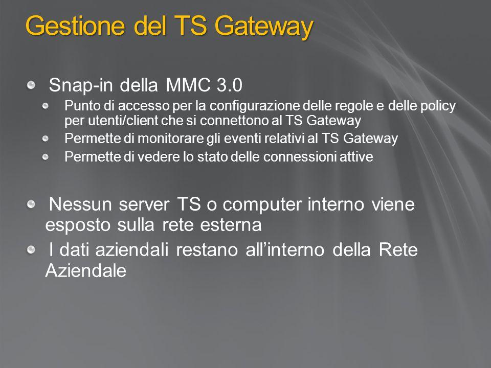 Gestione del TS Gateway Snap-in della MMC 3.0 Punto di accesso per la configurazione delle regole e delle policy per utenti/client che si connettono al TS Gateway Permette di monitorare gli eventi relativi al TS Gateway Permette di vedere lo stato delle connessioni attive Nessun server TS o computer interno viene esposto sulla rete esterna I dati aziendali restano all'interno della Rete Aziendale